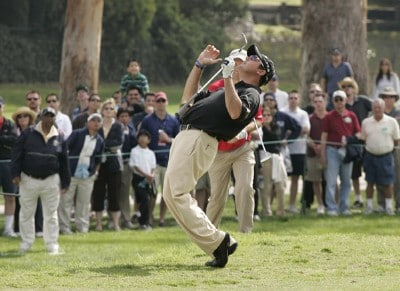Rich Beem reacts after missing a chip on #11 during the fourth and final round of  the Nissan Open held at Riviera Country Club in Pacific Palisades, California, on February 18, 2007. Photo by: Chris Condon/PGA TOURPhoto by: Chris Condon/PGA TOUR