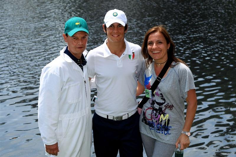 AUGUSTA, GA - APRIL 07:  Amateur Matteo Manassero (C) of Italy poses with his parents Roberto and Francesca during the Par 3 Contest prior to the 2010 Masters Tournament at Augusta National Golf Club on April 7, 2010 in Augusta, Georgia.  (Photo by David Cannon/Getty Images)