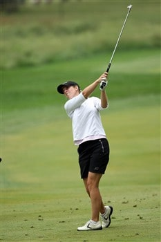 HAVRE DE GRACE, MD - JUNE 05:  Emily Bastel of the USA plays her second shot at the 16th hole during the first round of the 2008 McDonald's LPGA Championship held at Bulle Rock Golf Course, on June 5, 2008 in Havre de Grace, Maryland.  (Photo by David Cannon/Getty Images)