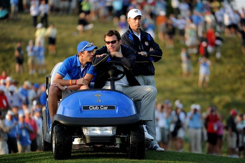LOUISVILLE, KY - SEPTEMBER 19:  European team captain Nick Faldo watches the play with his son Matthew on the first tee during the morning foursomes on day one of the 2008 Ryder Cup at Valhalla Golf Club on September 19, 2008 in Louisville, Kentucky.  (Photo by Harry How/Getty Images)