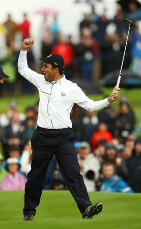 NEWPORT, WALES - OCTOBER 03:  Edoardo Molinari of Europe celebrates holing a putt on the 14th green during the Fourball & Foursome Matches during the 2010 Ryder Cup at the Celtic Manor Resort on October 3, 2010 in Newport, Wales.  (Photo by Richard Heathcote/Getty Images)