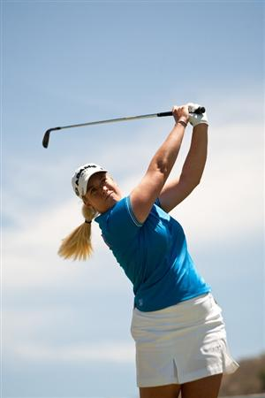 MORELIA, MEXICO - MAY 2: Brittany Lincicome follows through on a tee shot during the fourth round of the Tres Marias Championship at the Tres Marias Country Club on May 2, 2010 in Morelia, Mexico. (Photo by Darren Carroll/Getty Images)