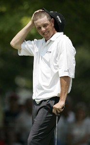 Jonathan Kaye reacts to a missed putt on the ninth hole during the second round of the Cialis Western Open on the No. 4 Dubsdread course at Cog Hill Golf and Country Club in Lemont, Illinois on July 7, 2006.Photo by Michael Cohen/WireImage.com