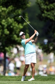 HAVRE DE GRACE, MD - JUNE 09:  Karrie Webb of Australia hits her second shot at the par 4, 1st hole during the third round of the 2007 McDonald's LPGA Championship held at Bulle Rock golf course, on June 9, 2007 in Havre de Grace, Maryland.  (Photo by David Cannon/Getty Images)