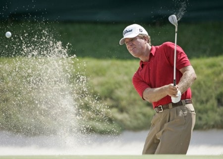 Steve Elkington hits from a bunker at #18 in the second round of the Barclays Classic at the Westchester CC in Rye, NY. Friday June 24, 2005Photo by Chris Condon/PGA TOUR/WireImage.com