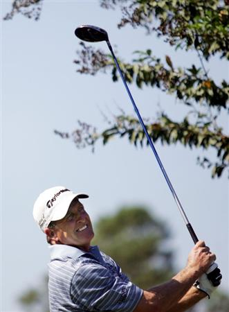 WOODLANDS, TX - OCTOBER 19:  Fred Funk tees off on the second hole during the final round of the Administaff Small Business Classic at the Woodlands Country Club on October 19, 2008 in Woodlands, Texas. (photo by Marc Serota/ Getty Images)