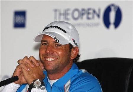 SOUTHPORT, UNITED KINGDOM - JULY 15:  Sergio Garcia of Spain speaks with the media during the second practice round of the 137th Open Championship on July 15, 2008 at Royal Birkdale Golf Club, Southport, England.  (Photo by Scott Halleran/Getty Images)