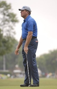 Paul Goydos reacts to a missed putt on the 10th green during the second round of the Crowne Plaza Invitational at Colonial at the Colonial Country Club in Fort Worth, Texas on May 25, 2007. PGA TOUR - 2007 Crowne Plaza Invitational at Colonial - Second RoundPhoto by Steve Grayson/WireImage.com