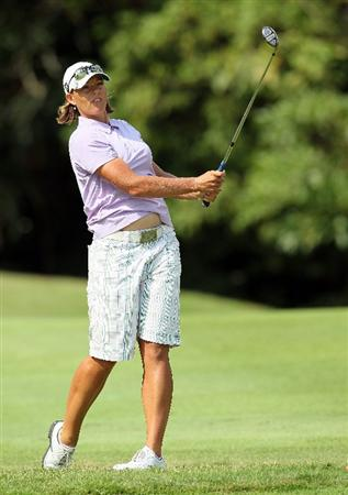 SINGAPORE - FEBRUARY 25:  Katherine Hull of Australia hits her second on the 4th hole during the first round of the HSBC Women's Champions at Tanah Merah Country Club on February 25, 2010 in Singapore, Singapore.  (Photo by Andy Lyons/Getty Images)