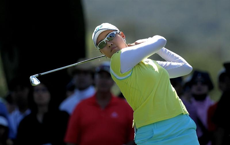 CARLSBAD, CA - MARCH 28:  Hee Kyung Seo of South Korea hits her tee shot on the second hole during the final round of the Kia Classic Presented by J Golf at La Costa Resort and Spa on March 28, 2010 in Carlsbad, California.  (Photo by Stephen Dunn/Getty Images)