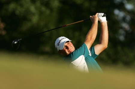 TULSA, OK - AUGUST 10:  Graeme Storm of England hits his tee shot on the third hole during the second round of the 89th PGA Championship at the Southern Hills Country Club on August 10, 2007 in Tulsa, Oklahoma.  (Photo by Streeter Lecka/Getty Images)