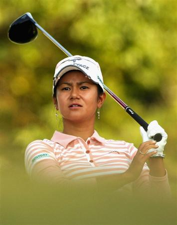 SHIMA, JAPAN - NOVEMBER 07:   Ai Miyazato of Japan makes a tee shot on the 18th hole during the first round of 2008 Mizuno Classic at Kintetsu Kashikojima Country Club on November 7, 2008 in Shima, Mie, Japan.  (Photo by Koichi Kamoshida/Getty Images)