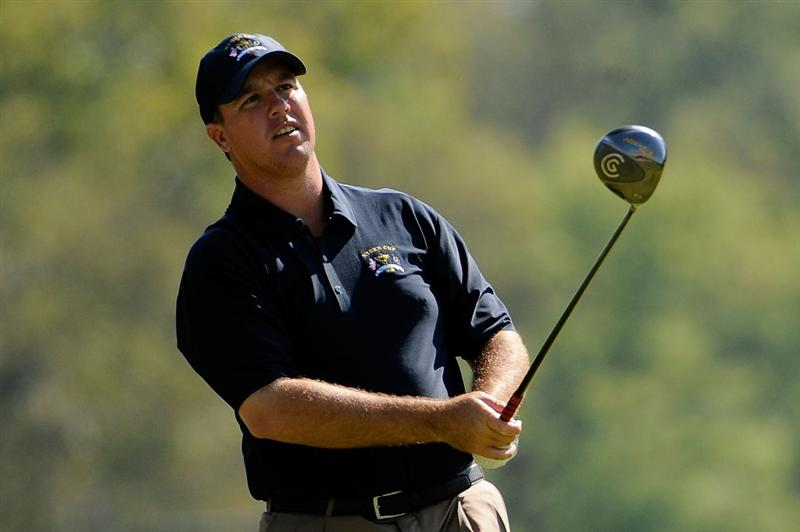 LOUISVILLE, KY - SEPTEMBER 17:  Boo Weekley of the USA team watches a tee shot during a practice round prior to the 2008 Ryder Cup at Valhalla Golf Club on September 17, 2008 in Louisville, Kentucky.  (Photo by Sam Greenwood/Getty Images)