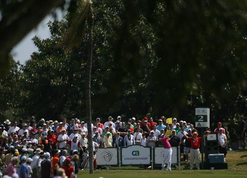 DORAL, FL - MARCH 14:  Robert Allenby of Australia tees off on the second tee box during the final round of the 2010 WGC-CA Championship at the TPC Blue Monster at Doral on March 14, 2010 in Doral, Florida.  (Photo by Marc Serota/Getty Images)