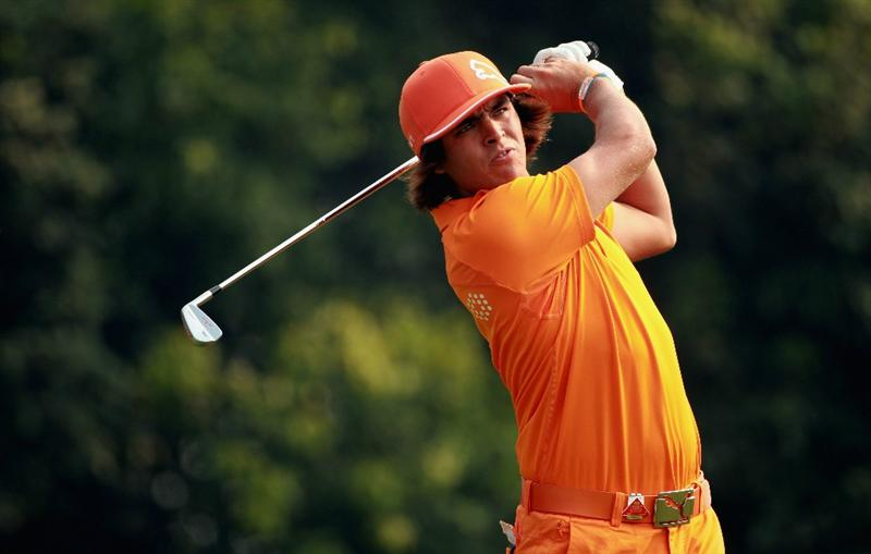 SHANGHAI, CHINA - NOVEMBER 07:  Rickie Fowler of the USA hits his tee-shot on the fourth hole during the final round of the WGC- HSBC Champions at Sheshan International Golf Club on November 7, 2010 in Shanghai, China.  (Photo by Andrew Redington/Getty Images)