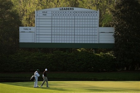 AUGUSTA, GA - APRIL 09:  Paul Casey of England walks with his caddie Craig Conneley during the third day of practice prior to the start of the 2008 Masters Tournament at Augusta National Golf Club on April 9, 2008 in Augusta, Georgia.  (Photo by Harry How/Getty Images)
