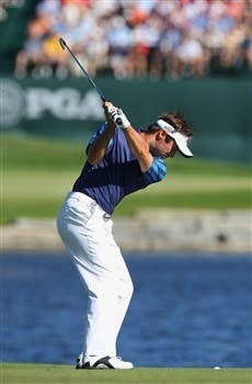 BLOOMFIELD HILLS, MI - AUGUST 08:  Trevor Immelman of South Africa plays a shot on the 16th hole during round two of the 90th PGA Championship at Oakland Hills Country Club on August 8, 2008 in Bloomfield Township, Michigan.  (Photo by Stuart Franklin/Getty Images)