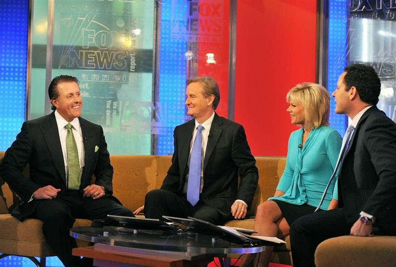 NEW YORK, NY - MARCH 02:  (L-R) American professional golfer Phil Mickelson talks to FOX & Friends hosts Steve Doocy, Gretchen Carlson and Brian Kilmeade at FOX Studios on March 2, 2011 in New York City.  (Photo by Slaven Vlasic/Getty Images)