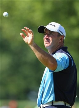 AKRON, OH - AUGUST 01:  Peter Lonard of Australia cathes a ball on the eighth hole during second round of the World Golf Championship Bridgestone Invitational on August 1, 2008 at Firestone Country Club in Akron, Ohio.  (Photo by Stuart Franklin/Getty Images)