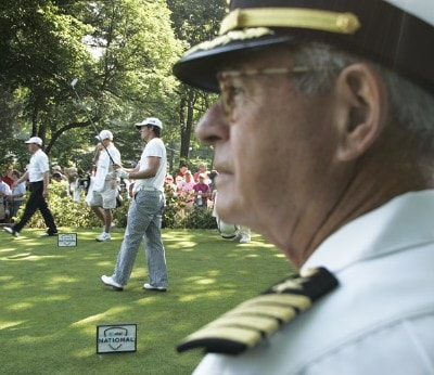Capt. Bruce Beam, USNR (RET), watches players at the first tee during the third round of the AT&T National held at Congressional Country Club in Bethesda, Maryland, on July 7, 2007. PGA TOUR - 2007 AT&T National - Third RoundPhoto by Stan Badz/PGA TOUR/WireImage.com