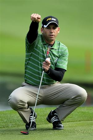 PEBBLE BEACH, CA - FEBRUARY 12:  Sergio Garcia of Spain gestures as he lines up his putt on the 14th hole during the second round of the AT&T Pebble Beach National Pro-Am at Spyglass Hill Golf Course on February 12 2010 in Pebble Beach, California.  (Photo by Stephen Dunn/Getty Images)
