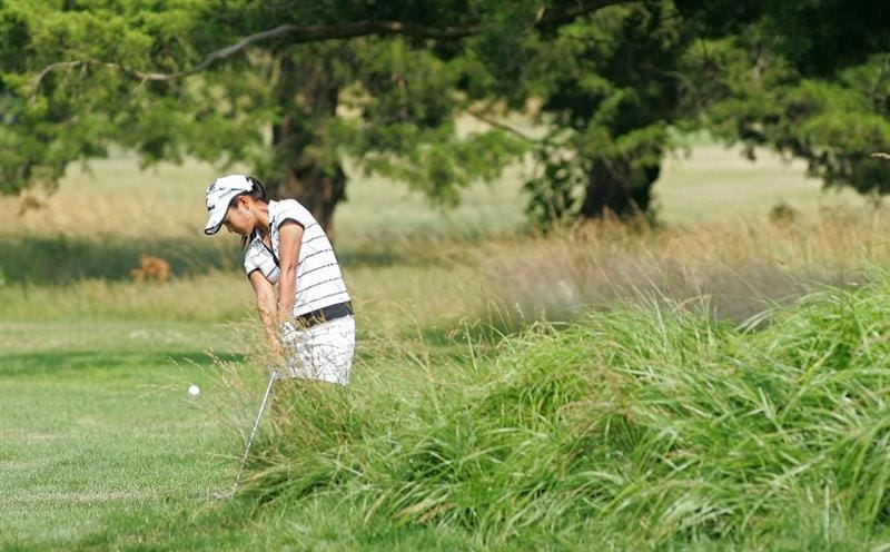 GALLOWAY, NJ - JUNE 20:  Ai Miyazato of Japan hits her third shot on the ninth hole during the final round of the ShopRite LPGA Classic held at Dolce Seaview Resort (Bay Course) on June 20, 2010 in Galloway, New Jersey.  (Photo by Michael Cohen/Getty Images)