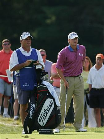 NORTON, MA - SEPTEMBER 07:  Steve Stricker prepares to play his second shot on the 13th hole during the final round of the Deutsche Bank Championship at TPC Boston held on September 7, 2009 in Norton, Massachusetts.  (Photo by Michael Cohen/Getty Images)