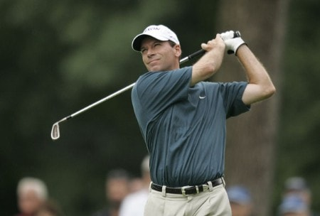2005 US Bank Championship-Round 1: John Huston on the 7th hole during the 1st round of the  2005 US Bank Championship at Brown Deer Park in Milwaukee, Wisconsin on July 21, 2005.Photo by Mike Ehrmann/WireImage.com