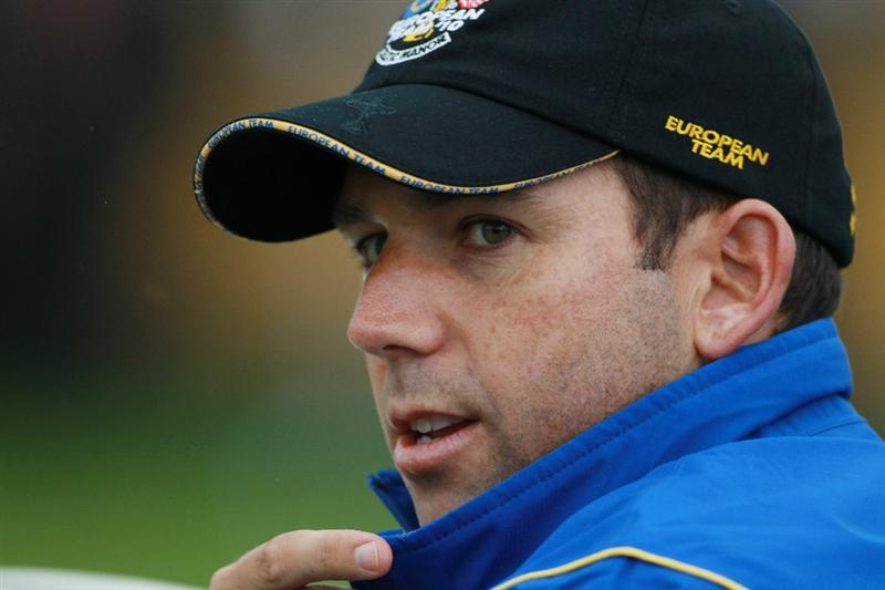 NEWPORT, WALES - SEPTEMBER 28:  Vice Captain Sergio Garcia of Europe looks on during a practice round prior to the 2010 Ryder Cup at the Celtic Manor Resort on September 28, 2010 in Newport, Wales.  (Photo by Scott Halleran/Getty Images)