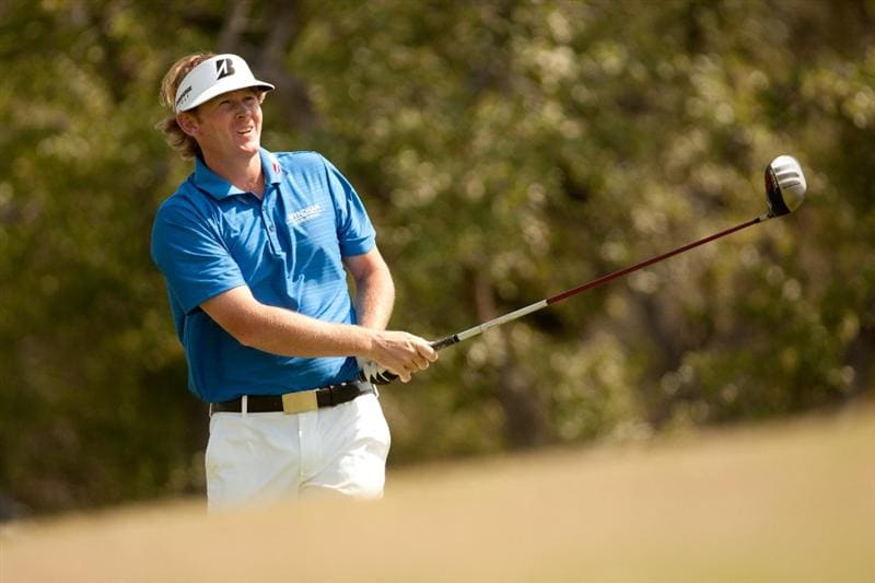 SAN ANTONIO, TX - APRIL 17: Brandt Snedeker follows through on a tee shot during the final round of the Valero Texas Open at the AT&T Oaks Course at TPC San Antonio on April 17, 2011 in San Antonio, Texas. (Photo by Darren Carroll/Getty Images)