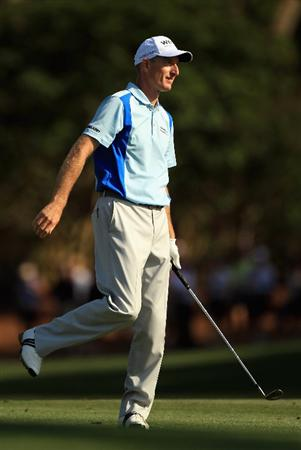 HILTON HEAD ISLAND, SC - APRIL 23:  Jim Furyk reacts to a shot from the fairway on the 16th hole during the third round of The Heritage at Harbour Town Golf Links on April 23, 2011 in Hilton Head Island, South Carolina.  (Photo by Streeter Lecka/Getty Images)