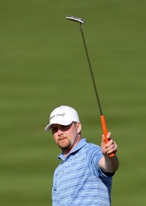 D. J. Trahan reacts to his birdie putt on the 16th hole during the third round of the 49th Bob Hope Chrysler Classic at the La Quinta Country Club on January 18, 2008 in La Qunita, California. PGA TOUR - 2008 Bob Hope Chrysler Classic - Round ThreePhoto by Harry How/Getty Images