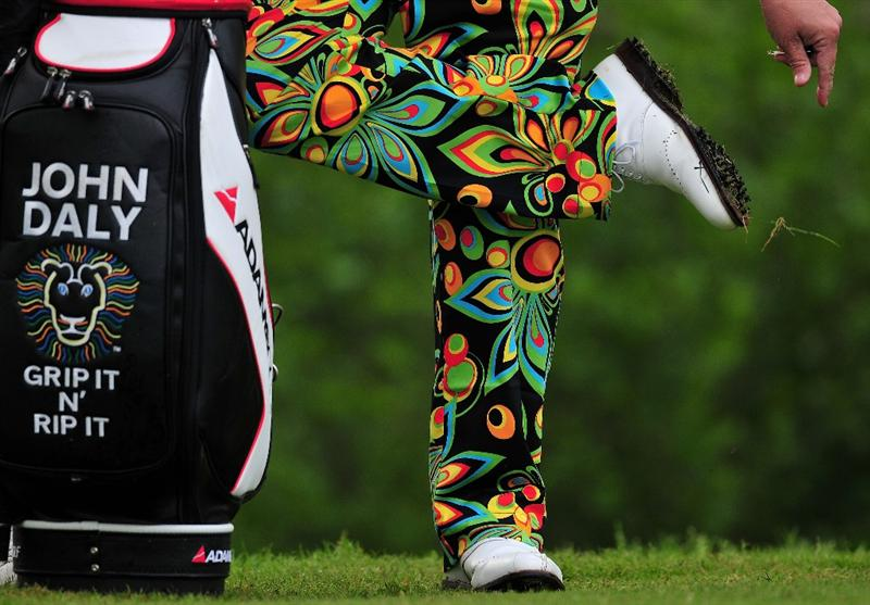 TURIN, ITALY - MAY 08:  The colourful trousers of John Daly of USA during the second round of the BMW Italian Open at Royal Park I Roveri on May 8, 2009 near Turin, Italy.  (Photo by Stuart Franklin/Getty Images)
