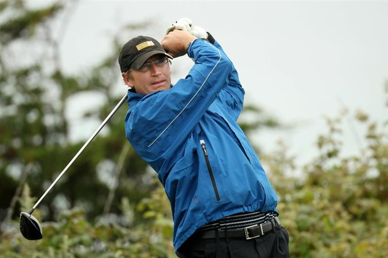 PEBBLE BEACH, CA - JUNE 14:  Kent Eger of Canada plays a shot during a practice round prior to the start of the 110th U.S. Open at Pebble Beach Golf Links on June 14, 2010 in Pebble Beach, California.  (Photo by Ross Kinnaird/Getty Images)