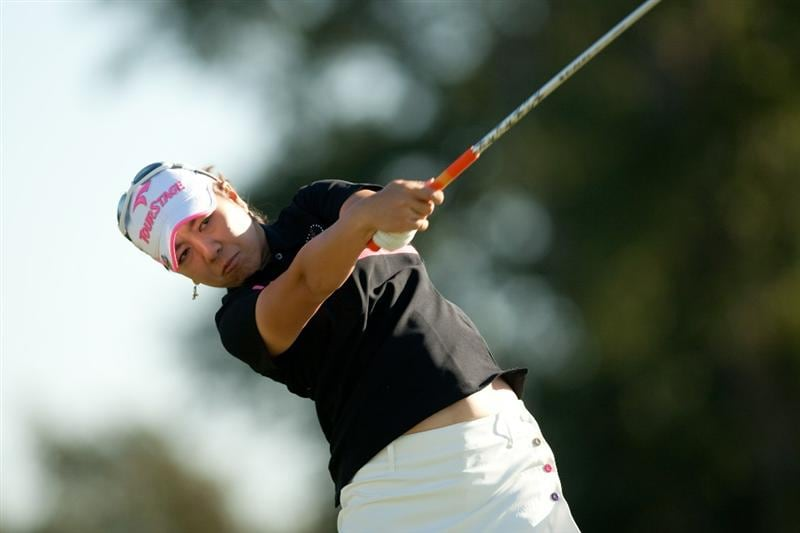 PRATTVILLE, AL - OCTOBER 7: Mika Miyazato of Japan follows through on a tee shot during the first round of the Navistar LPGA Classic at the Senator Course at the Robert Trent Jones Golf Trail at Capitol Hill on October 7, 2010 in Prattville, Alabama. (Photo by Darren Carroll/Getty Images)