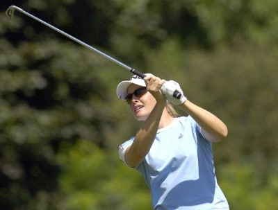 Stephanie Louden follows her shot during the final round of  the Canadian Women's Open at the London Hunt and Country Club in London, Ontario on August 13, 2006.Photo by Steve Levin/WireImage.com