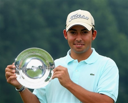 AKRON, OH - JULY 30:  Pablo Larrazabal of Spain with his European Tour player of the month award during practice for the World Golf Championship Bridgestone Invitational on July 30, 2008 at Firestone Country Club in Akron, Ohio.  (Photo by Stuart Franklin/Getty Images)
