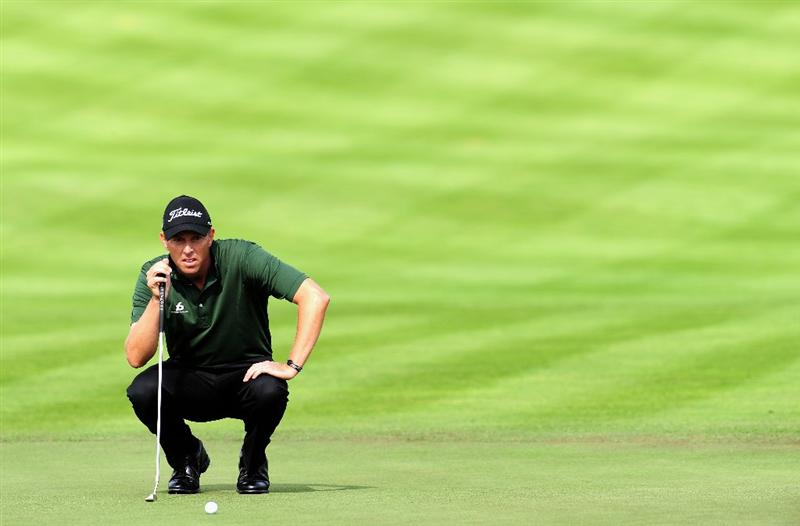COLOGNE, GERMANY - SEPTEMBER 11:  Soren Hansen of Denmark ponders his putt on the ninth hole during the second round of The Mercedes-Benz Championship at The Gut Larchenhof Golf Club on September 11, 2009 in Cologne, Germany.  (Photo by Stuart Franklin/Getty Images)