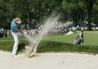 Peter Hedblom hits out of a fairway bunker on the second hole during the second round of the 2006 U.S. Open Golf Championship at Winged Foot Golf Club in Mamaroneck, New York on June 16, 2006.Photo by Michael Cohen/WireImage.com