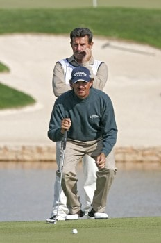Carlos Franco of Paraguay and Caddie during the first round of the 2005 Algarve World Cup at the Victoria Golf Club in Vilamoura, Portugal on November 17, 2005.Photo by Phil Inglis/WireImage.com