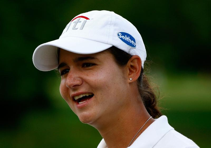 BETHLEHEM, PA - JULY 08:  Lorena Ochoa of Mexico chats with her caddie during a practice round prior to the start of thw 2008 U.S. Women's Open at the Saucon Valley Country Club on July 8, 2009 in Bethlehem, Pennsylvania.  (Photo by Scott Halleran/Getty Images)