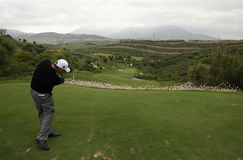 CASARES, SPAIN - MAY 18:  Paul Lawrie of Scotland hits his tee-shot on the tenth hole during the Pro Am prior to the start of the Volvo World Match Play Championship at Finca Cortesin on May 18, 2011 in Casares, Spain.  (Photo by Andrew Redington/Getty Images)