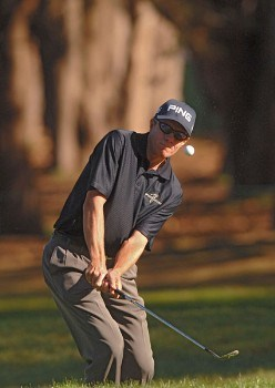 Nick O'Hern hitting onto the 12th green during the first round of The World Golf Championships 2005 American Express Championship at Harding Park Golf Club in San Francisco, California on October 6, 2005.Photo by Steve Grayson/WireImage.com