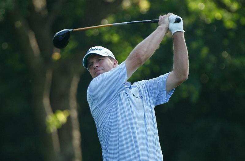 FT. WORTH, TX - MAY 27:  Steve Stricker watches his tee shot on the 12th hole during the first round of the 2010 Crowne Plaza Invitational at the Colonial Country Club on May 27, 2010 in Ft. Worth, Texas  (Photo by Scott Halleran/Getty Images)
