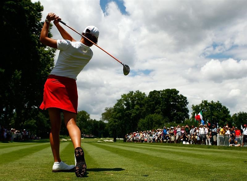 BETHLEHEM, PA - JULY 08:  Lorena Ochoa of Mexico hits a shot during a practice round prior to the start of the 2009 U.S. Women's Open at the Saucon Valley Country Club on July 8, 2009 in Bethlehem, Pennsylvania.  (Photo by Scott Halleran/Getty Images)