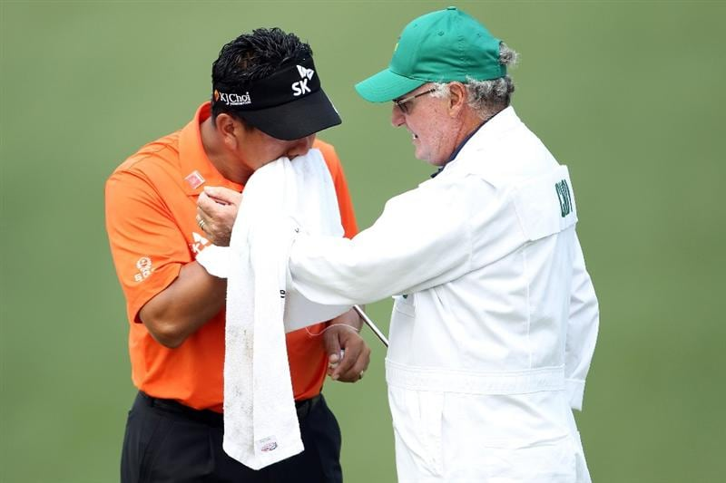 AUGUSTA, GA - APRIL 08:  K.J. Choi of South Korea wipes his face during the second round of the 2011 Masters Tournament at Augusta National Golf Club on April 8, 2011 in Augusta, Georgia.  (Photo by Jamie Squire/Getty Images)