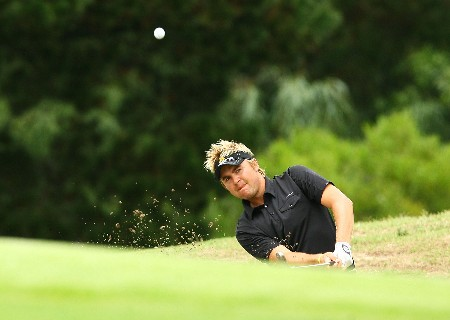 SYDNEY, AUSTRALIA - FEBRUARY 05:  Andrew Tampion of Australia plays a shot out of a bunker on the second hole during the British Open qualifying held at the Lakes golf course on February 5, 2008 in Sydney, Australia.  (Photo by Mark Nolan/Getty Images)