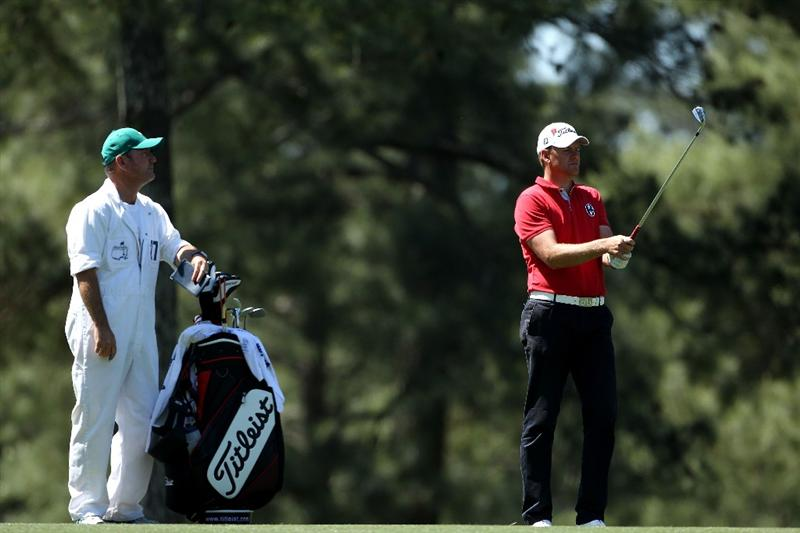 AUGUSTA, GA - APRIL 07:  Robert Karlsson of Sweden waits with his caddie Alastair McLean on the 17th hole during the first round of the 2011 Masters Tournament at Augusta National Golf Club on April 7, 2011 in Augusta, Georgia.  (Photo by Andrew Redington/Getty Images)