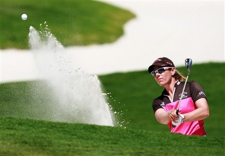 AVENTURA, FL - APRIL 25:  Annika Sorenstam hits green-side bunker shot on the 12th hole during the second round of the Stanford International Pro-Am at Fairmont Turnberry Isle Resort & Club on April 25, 2008 in Aventura, Florida.  (Photo by Doug Benc/Getty Images)