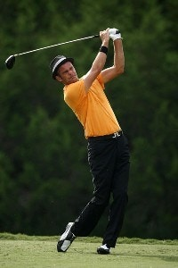 Jesper Parnevik tees off on the 9th hole during the second round of the Valero Texas Open at La Cantera Golf Club on October 5, 2007 in San Antonio, Texas. PGA TOUR - 2007 Valero Texas Open - Second RoundPhoto by Jonathan Ferrey/WireImage.com